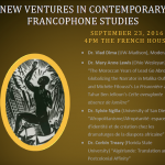 Poster from a colloquium on New Ventures in Francophone Studies