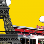 """Composite image with a diner called """"Breakfast in America"""" and the Eiffel Tower against a golden sky"""