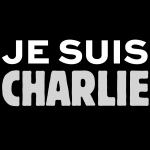 """""""Je suis Charlie"""" in black, white and gray."""